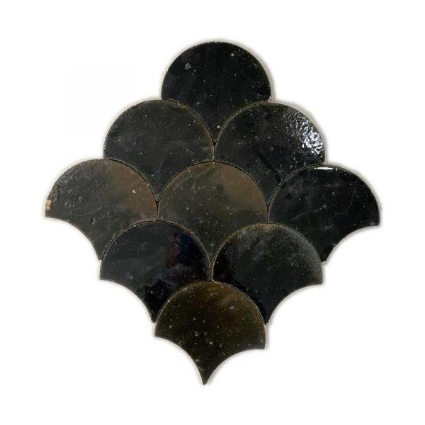 Zellige Black Fishscale 13cm x 12cm