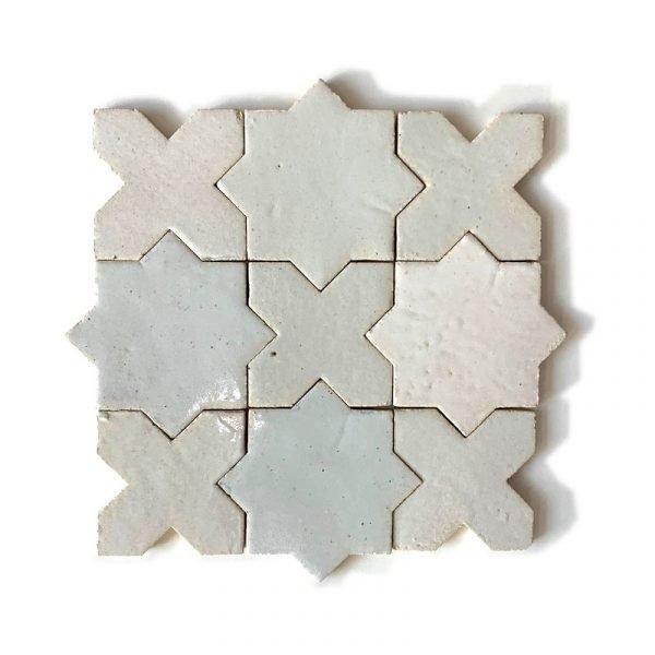 Zellige Star Cross White 12cm x 12cm