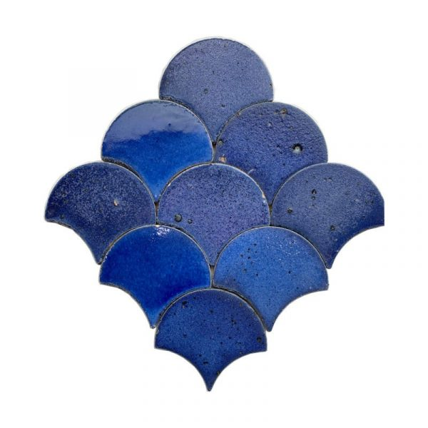 Zellige Dark Blue Fishscale 13cm x 12cm
