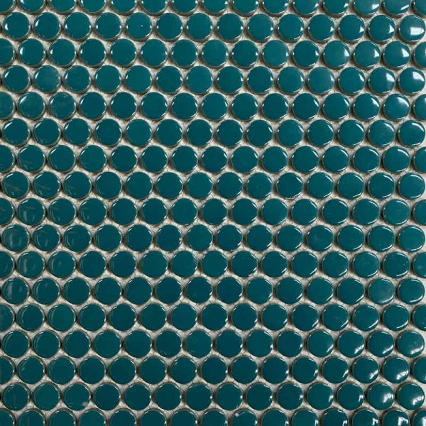 Glossy Turquoise Penny Round 31.5cm x 31cm