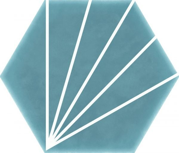 Geometric Striped Hexagon Turquoise 15cm x 17.5cm