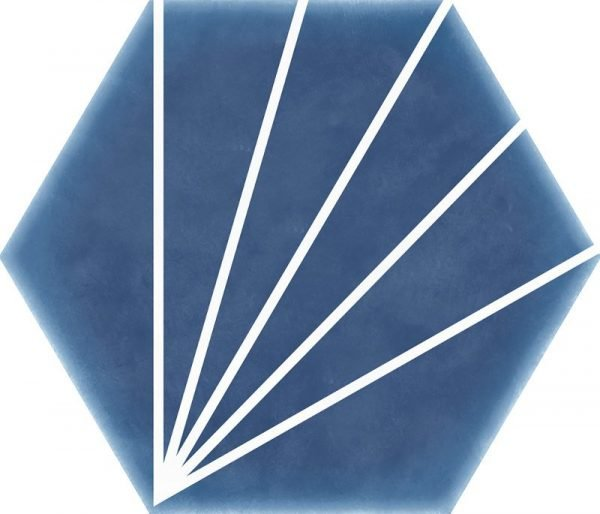Geometric Striped Hexagon Marine Blue 15cm x 17.5cm