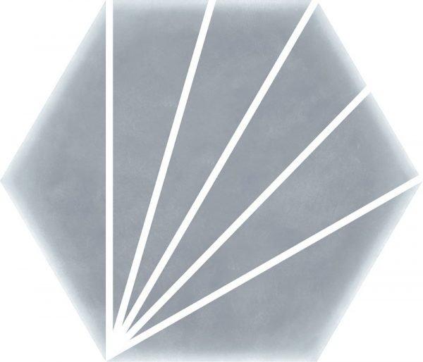 Geometric Striped Hexagon Grey 15cm x 17.5cm