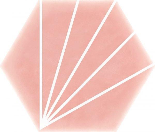 Geometric Striped Hexagon Pink 15cm x 17.5cm