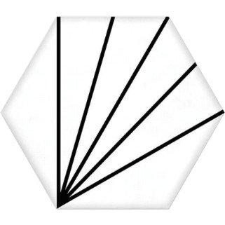 Geometric Striped Hexagon White 15cm x 17.5cm