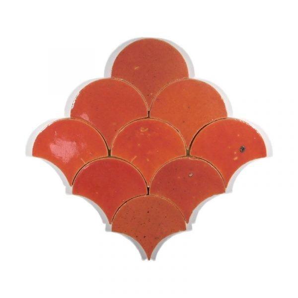 Zellige Strawberry Sunrise Fishscale 12cm x 12cm
