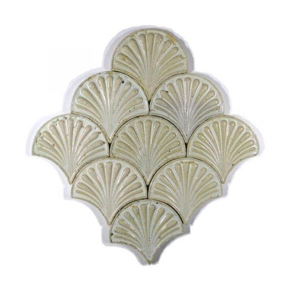 Zellige White Fishscale Flower 13cm x 12cm