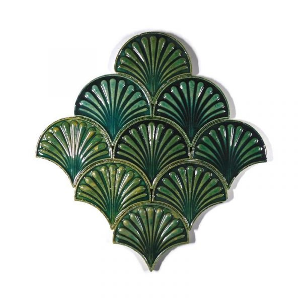 Zellige Jade Fishscale Flower 13cm x 12cm