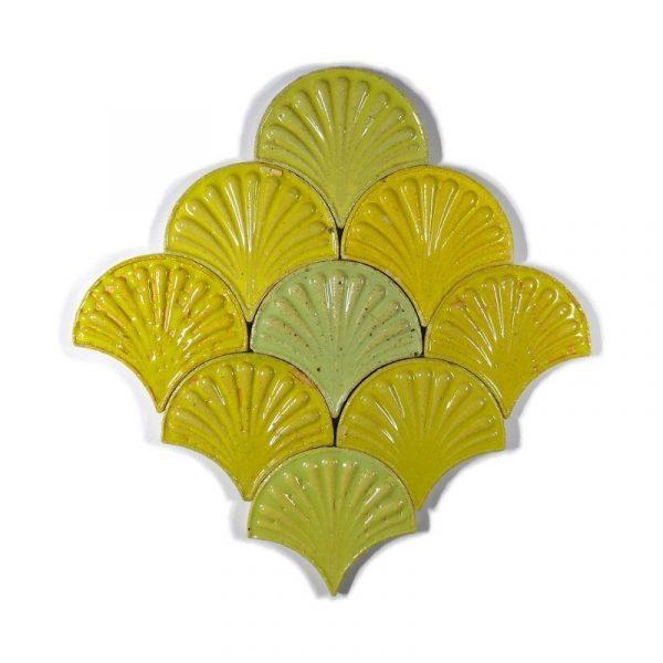 Zellige Yellow Fishscale Flower 13cm x 12cm