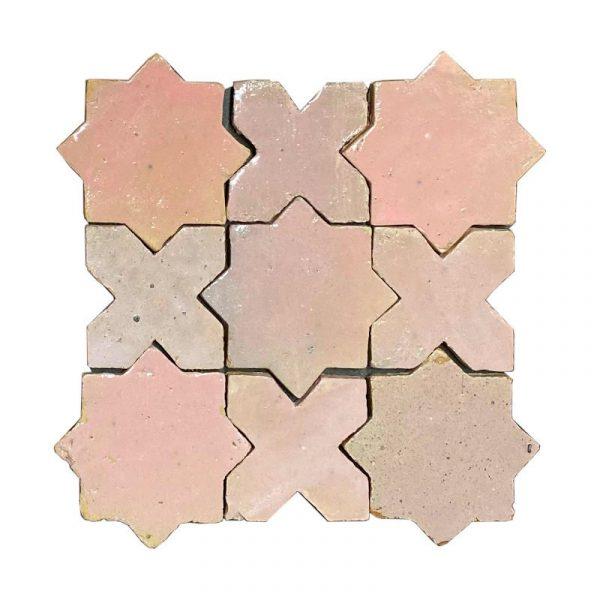Zellige Star Cross Pink 12cm x 12cm