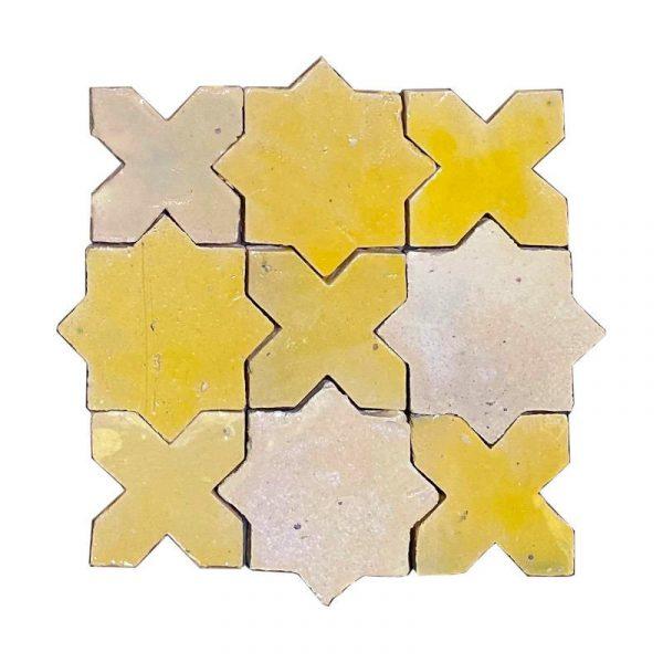 Zellige Star Cross Yellow 12cm x 12cm