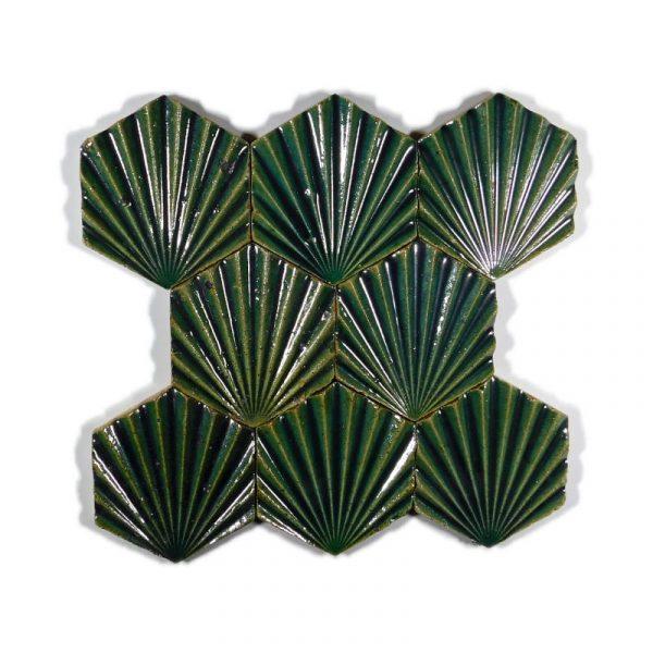 Zellige Hexagonal Scallop Jade 11cm x 12.7cm