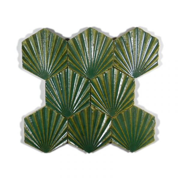 Zellige Hexagonal Scallop Turquoise 11cm x 12.7cm